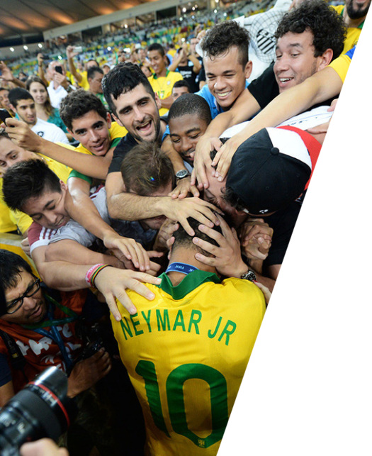 Neymar (10, Brazil) and fans during Spain v Brazil Confederations Cup 2013 30/6/13